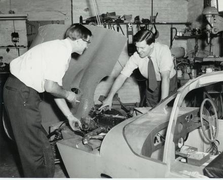 80 SNK - John Cotton & John Sutton during rebuild - 1962 MR