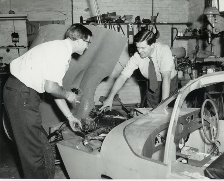80 SNK - John Cotton & John Sutton during rebuild - 1962 MR